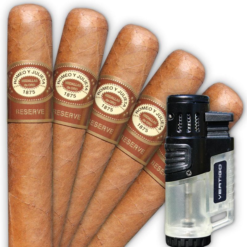 Romeo y Julieta Reserve Toro 5 Cigar Sampler with Torch Lighter
